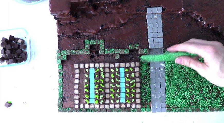 Торт майнкрафт: Заполняем поверхность бисквита ризными блоками, формируя каменные дорожки, клумбы, грядки. Промежутки посыпаем зелёными драже, формируя