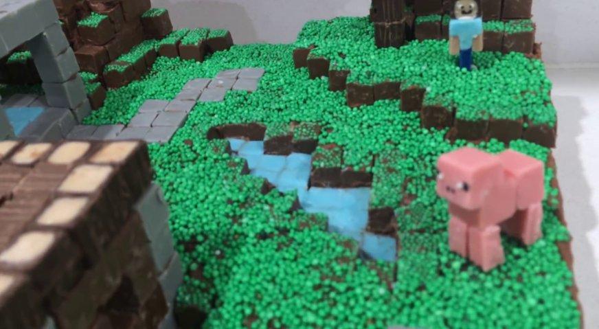 Торт майнкрафт: Включите фантазию, и дополните деревню водоёмами, цветами и другими элементами любимой игры. И будьте уверены - именинник и гости будут