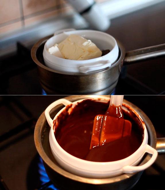 В небольшой посуде смешиваем шоколад и сливочное масло. Шоколадный фондан: пошаговый фото-рецепт