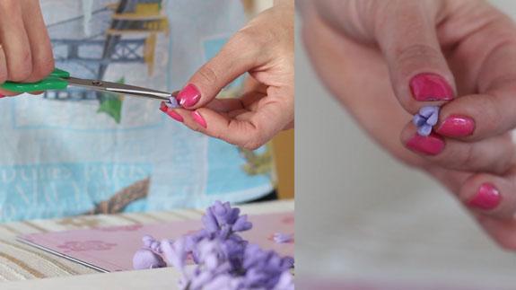 Ножницами делаем надрезы с широкой стороны конуса. Как сделать веточку сирени: пошаговый фото-рецепт