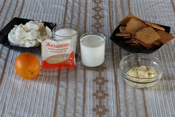 Необходимые ингредиенты для апельсинового... Апельсиновый чизкейк без выпечки: пошаговый фото-рецепт