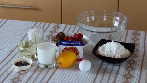 Все ингредиенты для приготовления маффинов с клубникой и шоколадом. Маффины с клубникой и шоколадом: пошаговый фото-рецепт