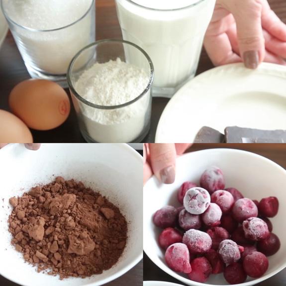 Ингредиенты для приготовления десерта Черный... Торт Черный Лес: пошаговый фото-рецепт